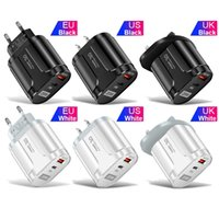 Fast Quick Charge 20W PD Wall Charger 2ports Eu US Uk Ac Power Adapter For Iphone 11 12 13 Samsung htc lg android phone pc mp3 with box