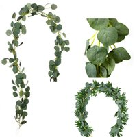 Decorative Flowers & Wreaths 2.1M DIY Artificial Eucalyptus Garland Hanging Rattan Vine Ivy Wedding Simulation Wicker Leaves Home Office El