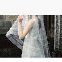 Double Horsehair Ribbon Wedding Veil With Blusher Fingetip Length Bridal Veils Custom Length Bridal Accessories Circle Drop Veils Luxury