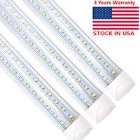 T8 / T10 / T12 8ft LED-Rohrlicht, drei Pin-Basis, 50W 5000LM 6000K-Tageslicht-Weiß, 270-Grad-V-förmiger Fluorescent-Birne (130W-Ersatz), klare Abdeckung, Dual-End-Leistung (25-Pack)
