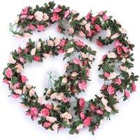 Decorative Flowers & Wreaths 5 Pack 2.5m Fake Rose Vine Garland Plants Artificial Flower Hanging Ivy Home El Wedding Party Garden Craft Deco