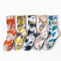 SOCKS Sports Street Skateboard Tie-Dye-Stickerei Smiley Tide Mittlere Röhre Männliche Weibliche Paar Stil Herbst