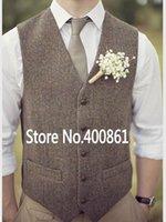 Men's Vests Fashion Brown Tweed Wool Herringbone British Style Custom Made Suit Tailor Slim Fit Blazer Waistcoat W:02