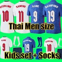أعلى جودة تايلاند التايلاندية إنجلترا لكرة القدم جيرسي 2021 كين الاسترليني راشفورد جبل لينغارد فاردي ديل 21 22 القميص الوطني لكرة القدم الرجال + أطفال كيت مجموعات الجوارب موحدة