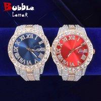 Projektant Luksusowy Zegarki Brand En's Big Red Dial Wojskowy Zegar Kwarcowy Rhinestone Biznes Wodoodporna Wrist Es Relogio Masculino