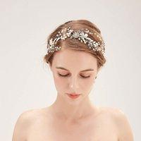 Gold Wedding Hair Jewelry Ornaments Cream Pearl Braid Bride Headband Hairband Crystal Rhinestone Flower Handmade Tiara JL