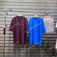 Homens 21s Impresso Camisetas Pólos Designer Pequena letra Impressão Paris Roupas de Manga Curta Mens Camisa Tag Roxo Azul Khaki