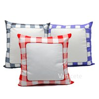 40*40 Plaid Blank White Sublimation Pillow Case Heat Transfer Cushion Cover Grid Square Home Sofa Pillowcases T9I001454