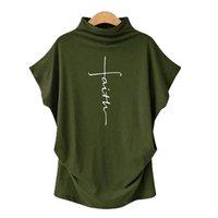 Летние негабаритные женские футболки вера крест печати моды свободные дамы Tee Tops с коротким рукавом уличная одежда случайные футболки женские