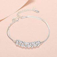 Link, Chain Trendy Silver Bracelet Women Polished Frosted Lucky Bead Double Layers Link Plated Jewelry For