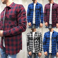 Мужские повседневные клетчатые рубашки Большой размер печати кнопка с длинным рукавом рубашка