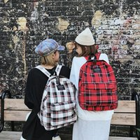 Backpack Mummy Bag Women Female Student College Wind Plaid Canvas Travel Fashion Style