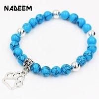 Charm Bracelets 8MM Tiger Eye,Snowflake,Marble,Lava Stone Dog Hand Pendant Stretch Mala Bead Bracelet Bangle For Women Men Pet Jewelry