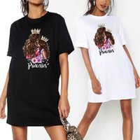 PROPCM Plus Size Women Mini Tshirt Dress Summer Mom&baby Princess Cute Print O-Neck Short Sleeve Party Dresses Loose Casual Streetwear Club