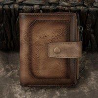 Wallets Men Genuine Leather Bifold Wallet Multi-Layer Cash Card Holder High Quality Retro Money Bag Coin Pocket Male Zipper Short Purse
