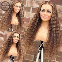 Lace Wigs VINIDA STYLE Highlight 13x4 Front Human Hair Curly 150 180% Non Remy Brazilian 8-24'' Pre-Plucked For Women