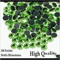 Nozioni di cucito Strumenti Abbigliamento Drop Consegna 2021 Piccola borsa Flatback vetro lucido frutta verde trasferimento di calore peridoto ferro su strass 3zob9