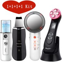 EMS Mesotherapy RF Radio Frequency Facial Beauty + Mini Face Sprayer + Ultrasoic Skin Scrubber + Infrared Body Slimming Massager Q0607
