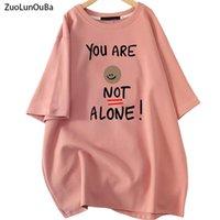 Zuolunouba الصيف منتصف الطول زائد حجم المرأة تي شيرت خطاب طباعة أنت لست وحددية سيدة الوردي تيز أزياء قمم الإناث المرأة تي شيرت