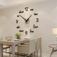 MEISD Qualité Horloge murale acrylique Creative Moderne Design Autocollants Quartz Montre Maison Noir Accueil Décor Salon Horloge 1267 V2