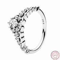 Cluster-Ringe Design Ziemlich Royal Crown Anschluss Märchen-Tiara für Frauen in 925er Sterlingsilber mit klarem Zirkonia-FLR129