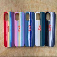 Colorful phone cases cover liquid silicone rainbow pattern for iPhone 12 Mini 13promax 11 Pro Max 6 7 8 Plus XR XS Official case