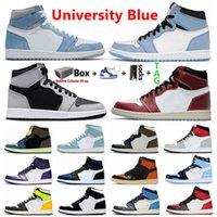University Blue 1S Jumpman 1 رجل أحذية كرة السلة أحذية رياضية hype الملكي الصنوبر الأخضر المحكمة الأرجواني سبج unc bred تو المحظورة الرياضة النساء الأحذية