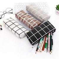 قماش هندسية حقيبة مدرسية بسيطة مخطط الشبكة بلون لطيف kawaii القلم حالة الحقيبة مكتب الطلاب الإمدادات