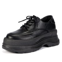 Dress Shoes Platform Women's Thick-soled Retro British Style Small Leather Casual Inner Increase 6cm High-heeled Women