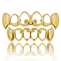 Gold Color Plated Hiphop Tooth Grill Top Bottom Dental Grills Hollow Vampire Teeth for Halloween