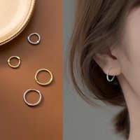 Hoop & Huggie Simple Small Earrings For Women Twisted Lines Circle 100% 925 Sterling Silver Ear Rings Clip