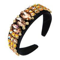 Bandeau de cristal coloré de luxe pour femme élégante strass strass perlé de la bande de cheveux de poil fête de la fête de bijoux