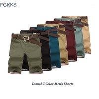 Fgkks qualidade marca casual shorts homens 2019 verão moda masculina cor sólida joelho comprimento confortável shorts macho casual short1