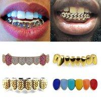 18K Gold Teeth Braces Punk Hip Hop Multicolor Diamond Custom Bottom Teeth Grillz Dental Mouth Fang Grills Tooth Cap Vampire Rapper Jewelry