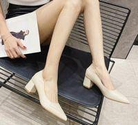 234 أشار تو كعب مكتنزة كعب السيدات مضخات واحدة عادة كعب الأحذية ركاب سيدة بسيطة مكتب المهنية مكتب العمل الأحذية اليومية مريحة المرأة ذات الكعب العالي