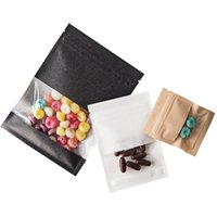 1000Pcs Lot Small Black Brown White Kraft Paper Zipper Lock Bag with Window Food Earring Jewelry Packaging Pouches Wholesale
