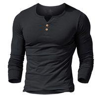 남성용 헨리 티 셔츠 남성 셔츠를위한 드레스 슬리브 탑스 코튼 캐주얼 보디 빌딩 휘트니스 티셔츠 티셔츠