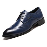 38-48 Fashion Genuine Leather Brogue Shoes Men Dress Shoe Pointed Oxfords Shoes For Men Lace Up Designer Luxury Formal