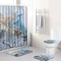 Shower Curtains Creative Home Decor Bathroom Accessories Crack Curtain Four Piece Mat Set 4