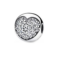 100% 925 Sterling Silver Sparkling Round Pave Heart Charm Fit Original European Bracelet Fashion Wedding Jewelry Accessories