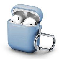 ل Apple AirPods 1 2 المضادة إسقاط بلوتوث اللاسلكية سماعة حالة الغطاء الواقي أكياس شحن الصدمات كم مربع مع هوك