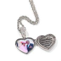 Пользовательские ожерелья на заказ мода позолоченные завесыванные ледяные медальоны сердца ожерелье мужские хип-хоп ювелирные изделия