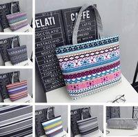 Inicio Estudiante Schoolbag Bolsas de almacenamiento de lienzo Bolsa de compras Bolsa de hombro grande Moda Mujer Portátil Raya BAGZC447