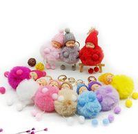 10 Pcs Lot Sleeping Baby Doll Keychain Foot Doll Pompom Fake Rabbit Fur Ball Key Chain Car Keyring Women Key Holder Bag Charm wjl3893