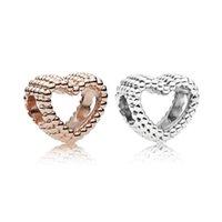 Fashion Charms Risultati dei monili e componenti in oro rosa argento in lega di cuore perline sciolto per braccialetto di Pandox Braccialetto stile europeo
