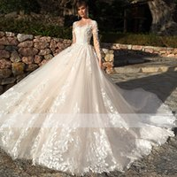 2021 Elegant Neck Full Sleeve A-Line Wedding Dress Gorgeous Appliques Vintage Bridal Gown Custom Princess Wedding Gown