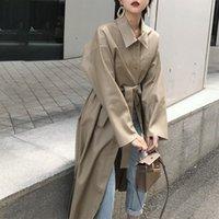 Women's Trench Coats LANMREM 2021 Spring Fashion Long Type PU Leather Windbreaker Loose Single-breasted Coat Black Clothing YG625