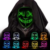 Alta qualità DHL10Style El Wire Skeleton Ghost Maschera LED Flash incandescente Halloween Cosplay Party Masquerade Face Horror