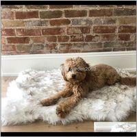 Kennels Pens Faux Fur Dog Tap Mat Curve White Winter Soft Warm Cojinete acogedor Cojín para mascotas Para Perros Medianos Gatos Durables Lujos Lujos Durables Blanke Yodxz