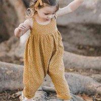 Летние девочки ползунки младенца без рукавов тайный желтый пунктирная мода флористические комбинезоны комбинезон детская одежда HH423JY3